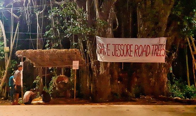 যশোর রোডের গাছ রক্ষায় আন্দোলন :'গাছ বাড়ি' বানিয়ে বসতি