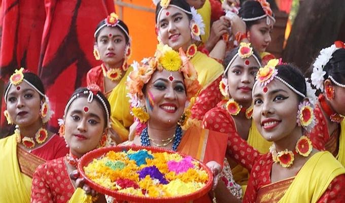 বসন্তবরণ উৎসবে মেতে উঠেছে বাঙালি জাতি