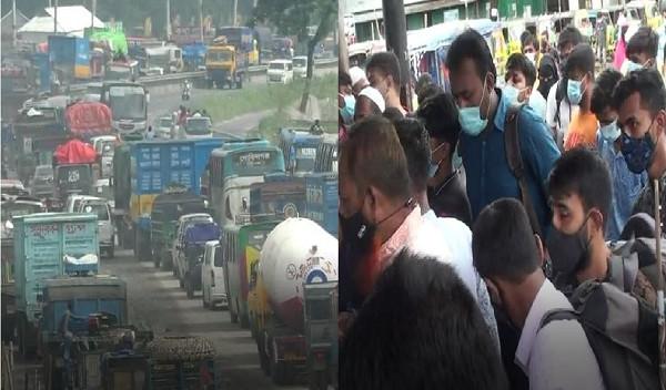মহাসড়কে যানবাহনের চাপ, নৌরুটে মানুষের ঢল