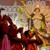 প্রতিমা বিসর্জনের মধ্য দিয়ে শেষ হলো দুর্গাপূজার আনুষ্ঠানিকতা